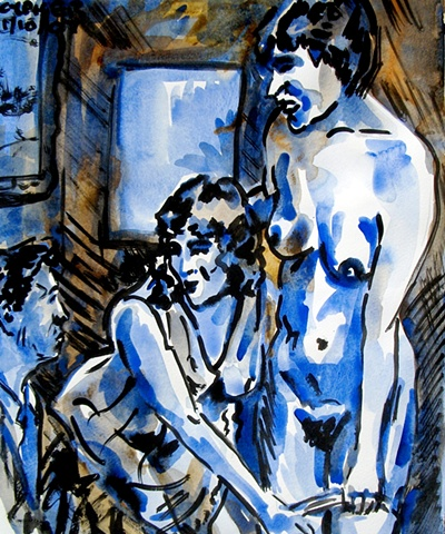 Erotic Lovers In Blue