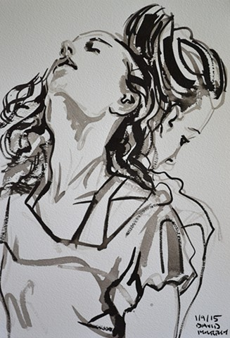 Longing No. 1, David Murphy, brush and indian ink, portrait
