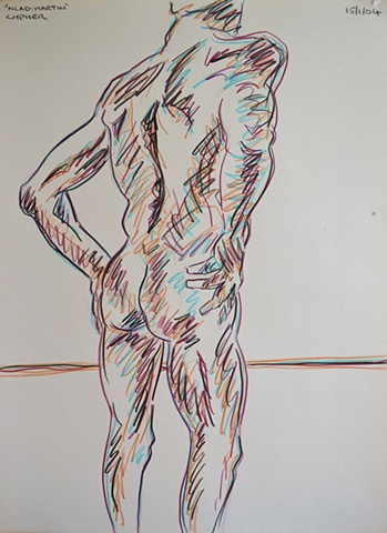 N.C.A.D. Standing Male Nude From The Rear, david murphy, cypher, the panic artist, david brendan murphy