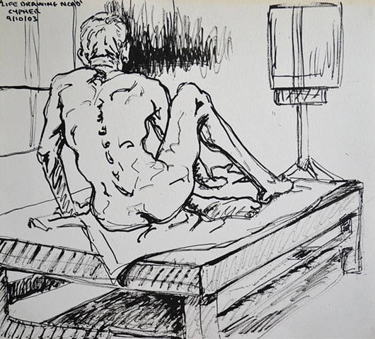N.C.A.D. Sketch of Lying Male Nude