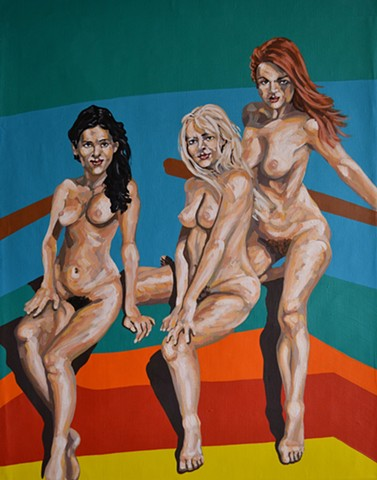 Three Nude Girls, acrylic, david murphy, cypher