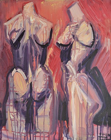 Two Mannequins No. 3, acrylic, painting, David Murphy