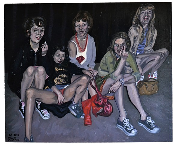 Five Girls Sitting on Pavement, david murphy, cypher, oil on Wood, new, realist