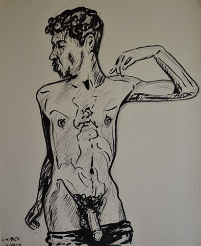 monkey boy, male nude, self-portrait, pencil, drawing, david murphy, cypher, the panic artist
