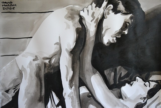 Couple Making Love, brush and Indian ink, david murphy