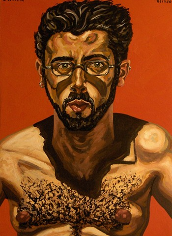 Self-Portrait With Beard and Red Background, 2003, david brendan murphy, cypher, the panic artist