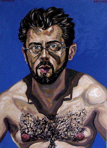 Self-Portrait With Beard and Blue Background, 2003, david brendan murphy, cypher, the panic artist