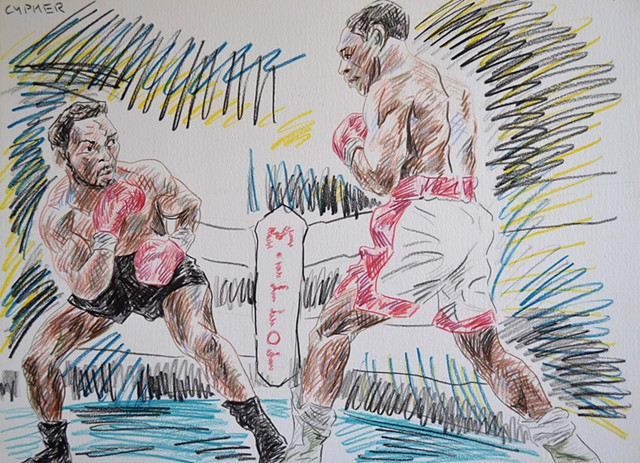 Benn Vs. Eubank, coloured pencils, drawing, david murphy