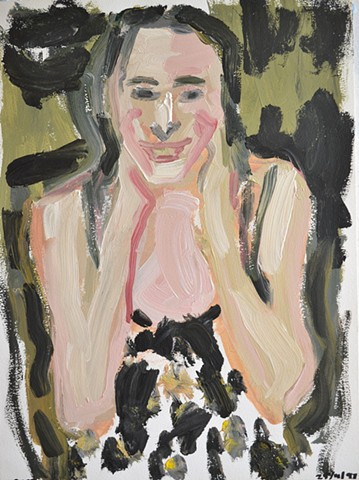 Girl In Spotted Dress, cypher, david murphy, acrylic on paper