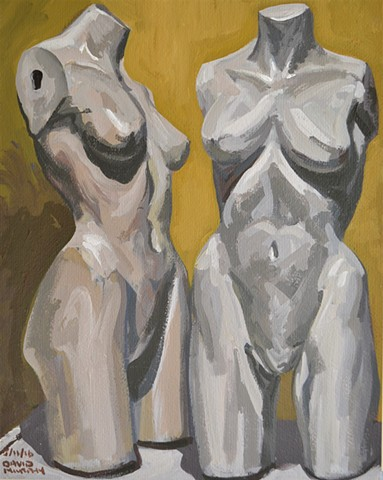 Two Mannequins No. 1, acrylic, painting, David Murphy