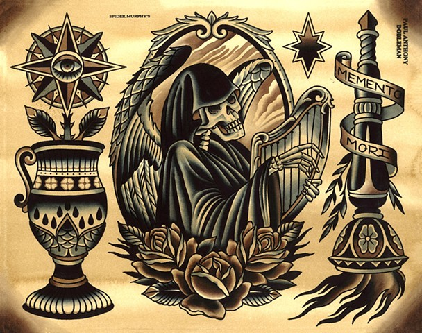 Memento Mori Tattoo Flash, Reaper Tattoo Flash, Spider Murphy's Tattoo Flash