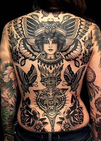Butterfly Girl Back Tattoo