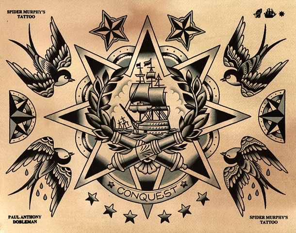 Ship and Swallows Tattoo Flash, Spider Murphy's Tattoo Flash