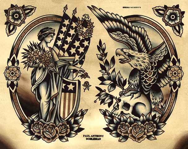 Liberty Tattoo Flash, Eagle Tattoo Flash, Spider Murphy's Tattoo Flash