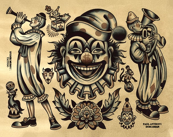 Clown Tattoo Flash, Spider Murphy's Tattoo Flash