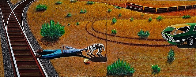 Western Art, Train, Dog, Cowboy, desert drama