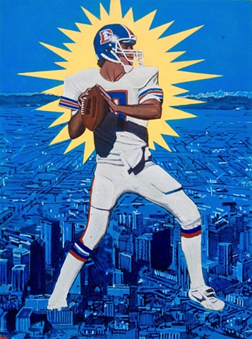 John Elway, sports art, Denver broncos, pop art