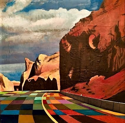 Canyon, highway , western art, stain glass