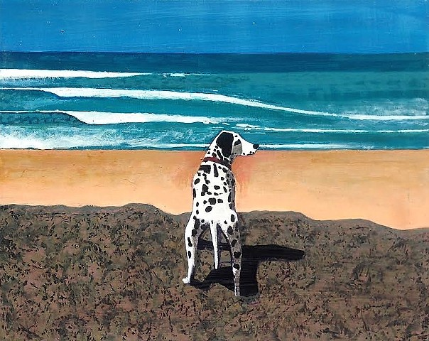 Dalmatian , ocean, pet art. dog
