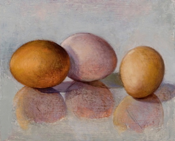 two golden eggs and one pink egg on gray background; oil painting; art