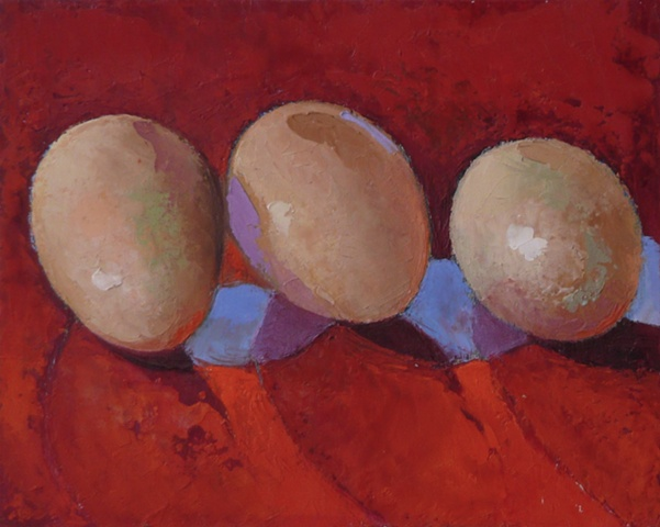 3 brown eggs on red background, with blue shadows; oil painting; art