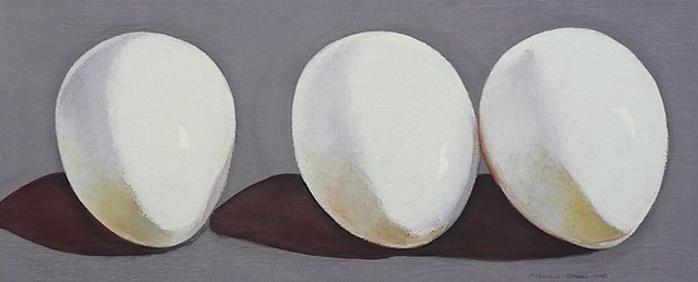 three white eggs on gray background; oil painting; art