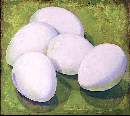 five white eggs on a lime green background/ oil painting; art