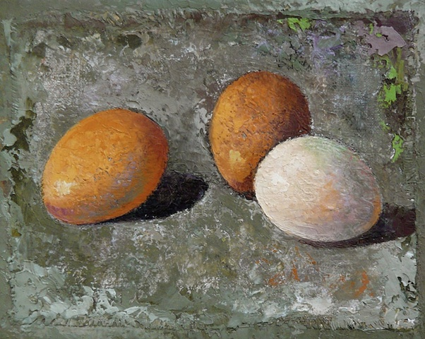 one white and two brown eggs on greenish-gray background; oil painting; art