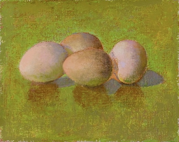 four brown eggs on lime green background; oil painting; art