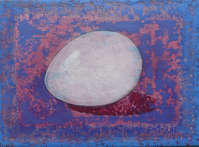 one white egg on blue-red background; oil painting; art
