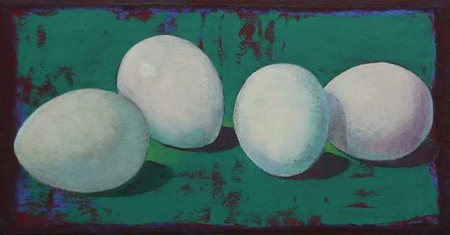 four white eggs in a teal green- deep red bacground / oil painting