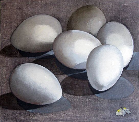 six white eggs and a white butterfly on a gray background/ oil painting
