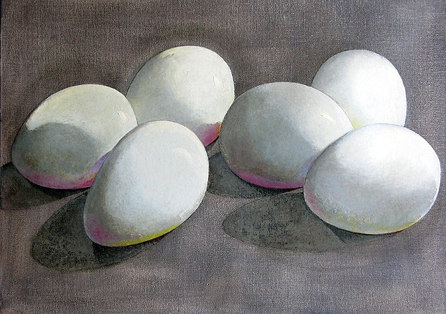 six white eggs on a gray background with pink cast shadows/ oil painting