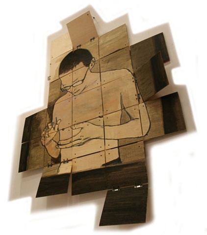 Folding (Plywood, hinges, charcoal)