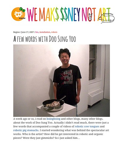 We Make Money Not Art Interviews Doo-Sung Yoo