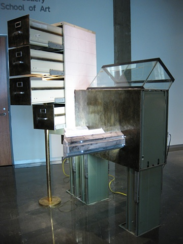 Title/Materials: Filing Cabinets, Fish Tank, Fluorescent Fixtures, Fluorescent Bulbs, Lamp, Light bulb, Linoleum Flooring, Electrical Receptacles, Electrical Wiring, Paint, Sawdust, Wood Glue