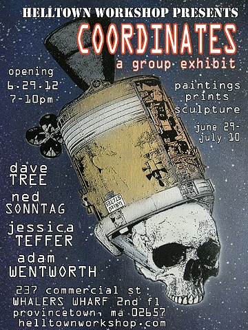 Poster for the COORDINATES exhibit at Helltown Workshop designed by Joey Mars.  Image by Dave Tree.