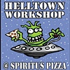 Helltown Workshop at Spiritus Pizza.  August 10th through the 21st.  Paintings, drawings and sculpture