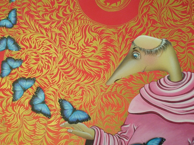 OFTEN THE BUTTERFLIES MISTOOK UNCLE ROO ROO.....DETAIL