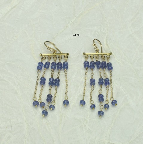 5 delicate dangling chains w/ faceted tanzanite, all gold filled findings (247E)