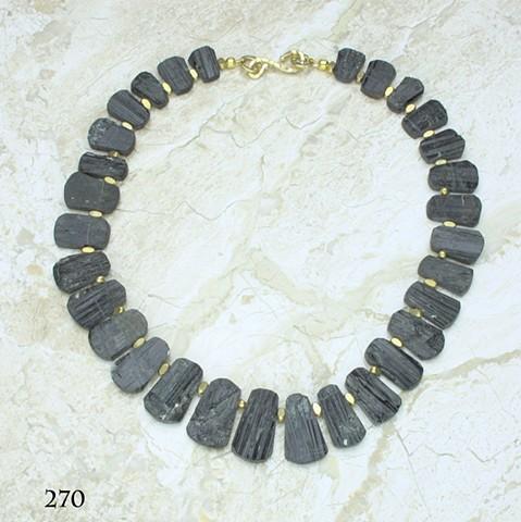 "unpolished German cut black tourmaline w/ vermeil findings (#270) 17 1/2"" length"