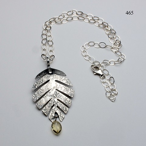 "textured silver leaf pendant w/ citrine on 24"" SS link chain with lobster clasp (#465)"