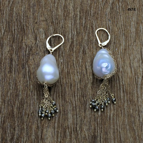 baroque pearl with gold filled chain & pyrite dangles on gold filled leverbacks ((#483E)
