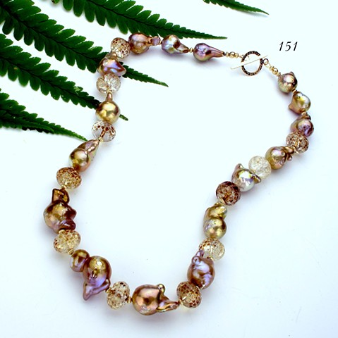 golden baroque pearls, faceted amber quartz, gold filled findings (151)