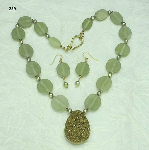 gold plated druse pendant with natural Afghan jade, dyed freshwater pearls & brass findings (#239) shown with matching earrings