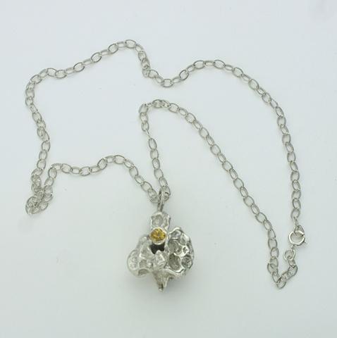 "poured silver pendant w/ bezel set citrine on 16"" silver chain"