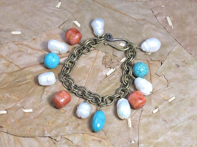 vintage brass bracelet w/ pearls, coral & turquoise (#690)