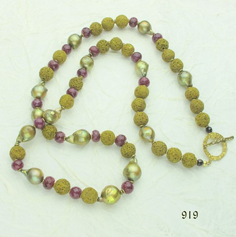 "32"" rope of chartreuse baroque pearls & lava rock, faceted rubies, brass findings"