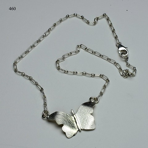 textured silver butterfly pendant on SS chain with lobster clasp (#460)