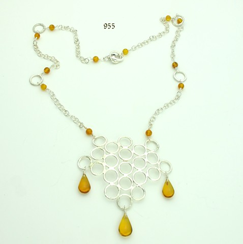 hammered silver rings pendant w/ amber briolettes & amber and silver chain w/ silver lobster clasp (#955)